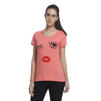 Vero Moda Women Graphic Print Casual Wear Orange T-Shirt