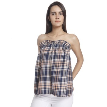 Vero Moda Women Checkered Casual Wear Blue Top