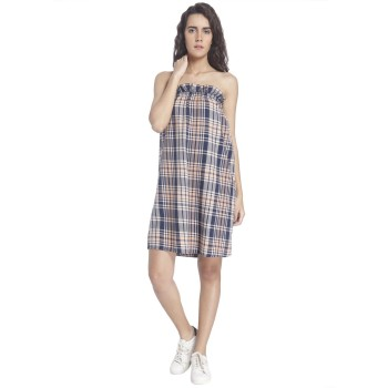 Vero Moda Women Checkered Casual Wear Blue Dress
