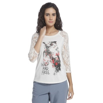 Vero Moda Women Graphic Print Casual Wear Off White Top