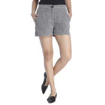 Vero Moda Women Solid Casual Wear Black Shorts