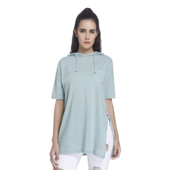 Vero Moda Women Solid Casual Wear Blue Top