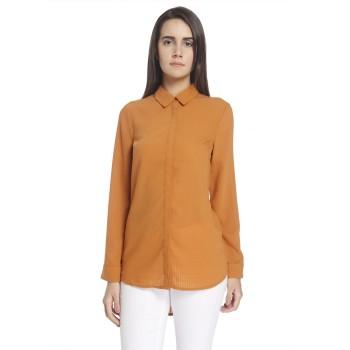 Vero Moda Women Self Design Casual Wear Orange Shirt