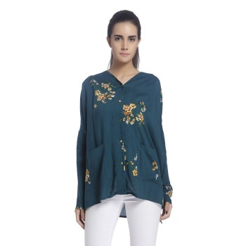 Vero Moda Women Floral Print Casual Wear Green Top