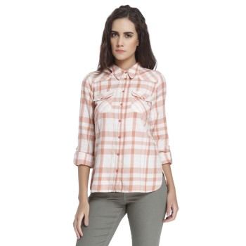Vero Moda Women Checkered Casual Wear Orange Shirt
