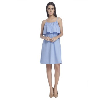 Vero Moda Women Solid Casual Wear Blue Dress