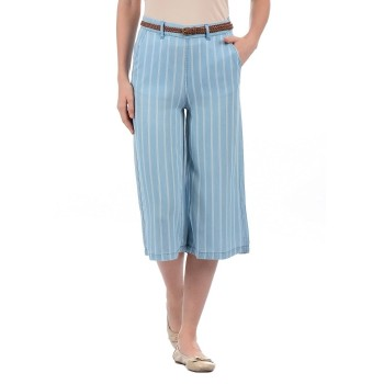 Vero Moda Women Striped Casual Wear Blue Trouser