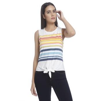 Vero Moda Women Striped Casual Wear White Top