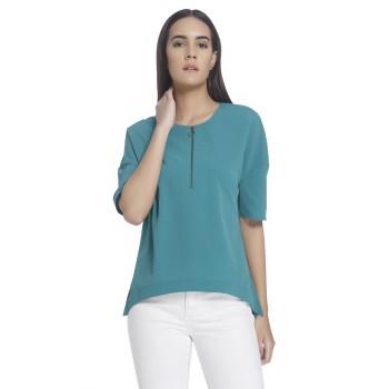 Vero Moda Women Solid Casual Wear Green Top