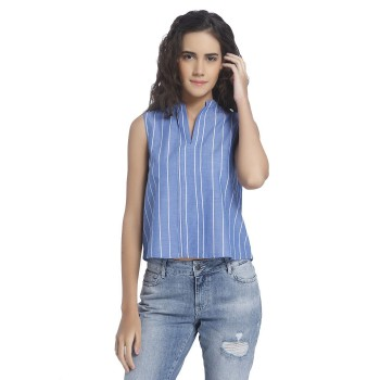 Vero Moda Women Striped Casual Wear Blue Top