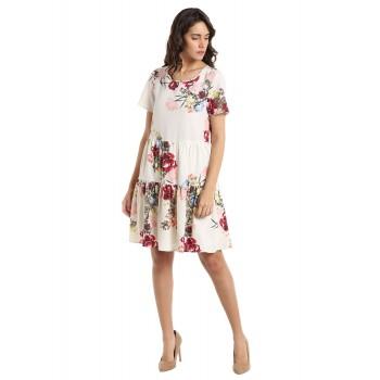 Vero Moda Women's Half Sleeve White Dress