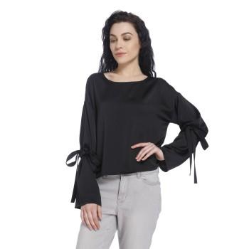 Vero Moda Women Solid Casual Wear Black Top