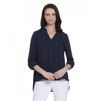 Vero Moda Women's 3/4th Sleeve Blue Top