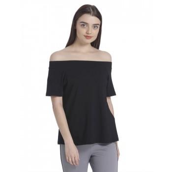 Vero Moda Women's Half Sleeve Black Top