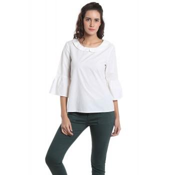 Vero Moda Women's 3/4th Sleeve White Top