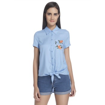 Vero Moda Women Solid Casual Wear Blue Shirt