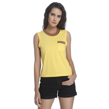 Vero Moda Women Solid Casual Wear Yellow Top