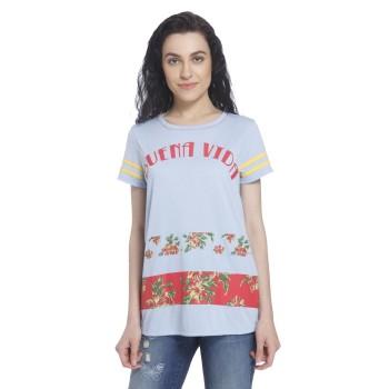 Vero Moda Women Printed Casual Wear Blue T-Shirt