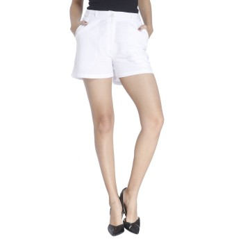 Vero Moda Women Solid Casual Wear White Shorts