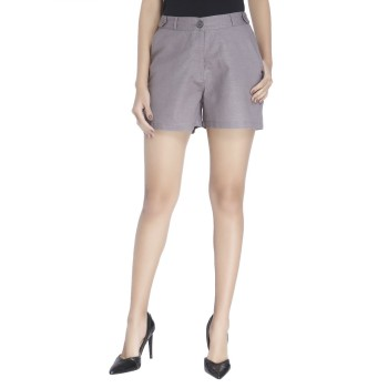 Vero Moda Women Solid Casual Wear Grey Shorts