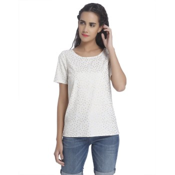 Vero Moda Women Polka Print Casual Wear White Top