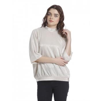 Vero Moda Women's Half Sleeve Beige Top