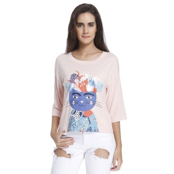 Vero Moda Women Graphic Print Casual Wear Pink  Top