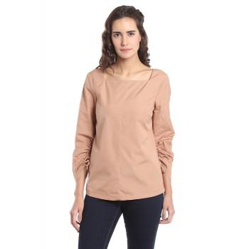 Vero Moda Women's Full Sleeve Brown Top