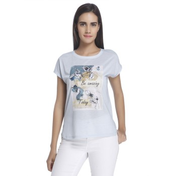 Vero Moda Women Graphic Print Casual Wear Blue Top