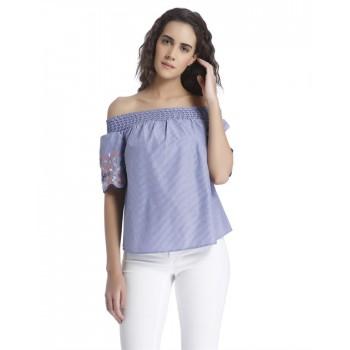 Vero Moda Women's Half Sleeve Blue Top