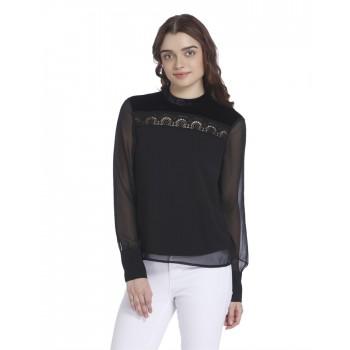 Vero Moda Women's Full Sleeve Black Top