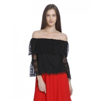 Vero Moda Women's 3/4th Sleeve Black Top