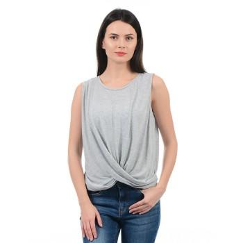 Vero Moda Women Solid Casual Wear Grey Top