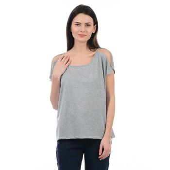 Vero Moda Women Solid Casual Wear Grey T-Shirt