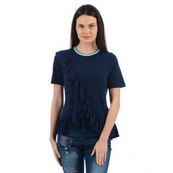 Vero Moda Women Solid Casual Wear Blue Top