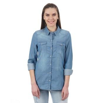 Vero Moda Women Solid Casual Wear Blue Shirt
