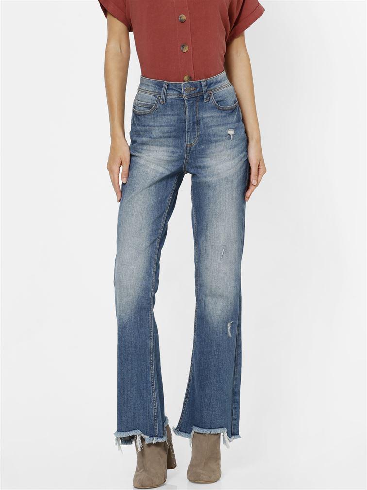 Only Women Casual Wear Blue Bootcut Jeans