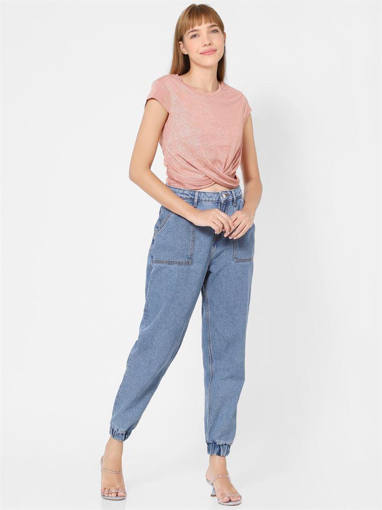 Only Women Casual Wear Pink Crop Top