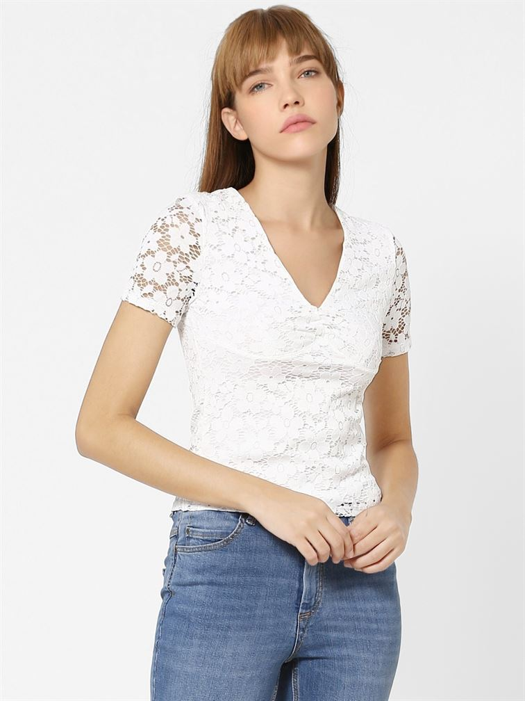 Only Women Casual Wear White Top
