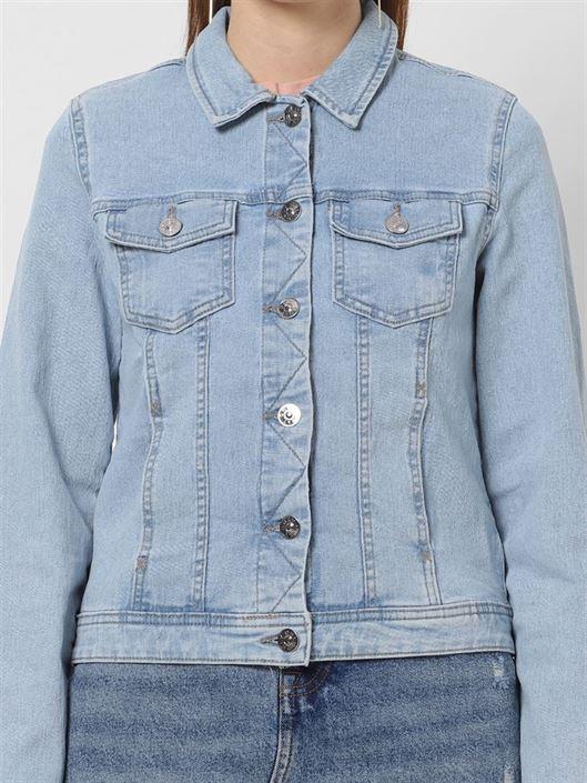 Only Women Casual Wear Blue Denim Jacket