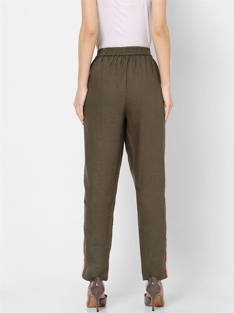 Only Women Casual Wear Olive Trouser