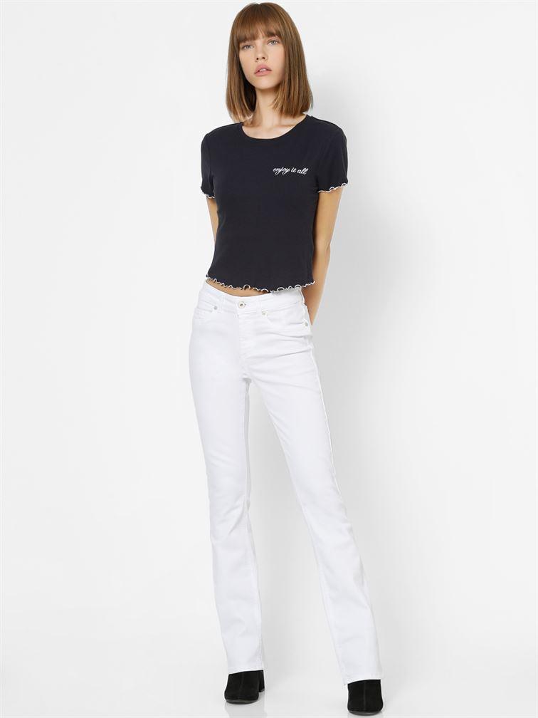Only Women Casual Wear Navy Blue Crop Length T-Shirt