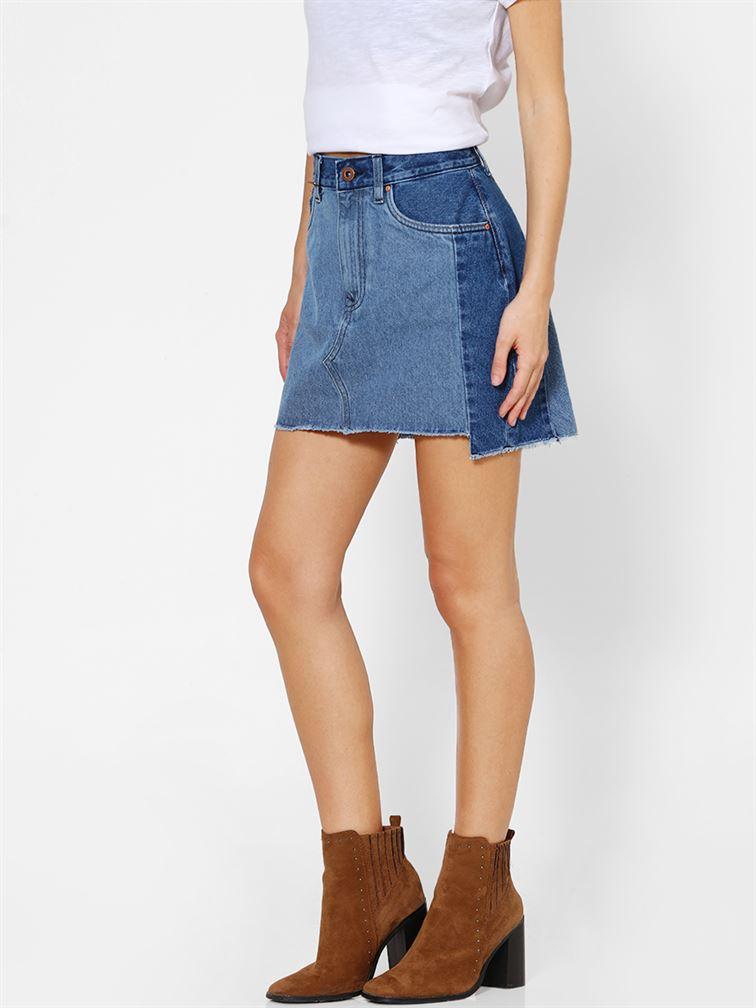 Only Women Casual Wear Blue Denim Skirt