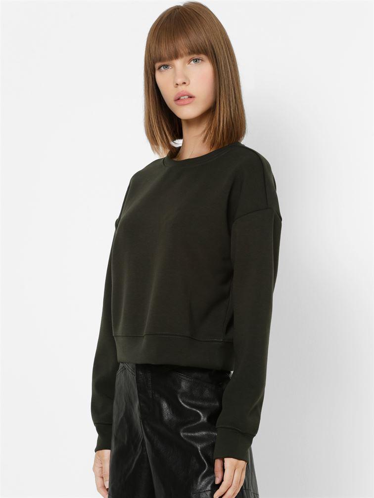 Only Women Casual Wear Dark Green Sweatshirt