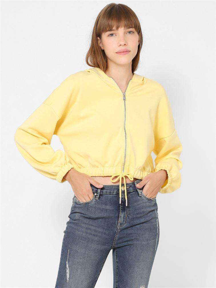 Only Women Casual Wear Yellow Crop Length Sweatshirt