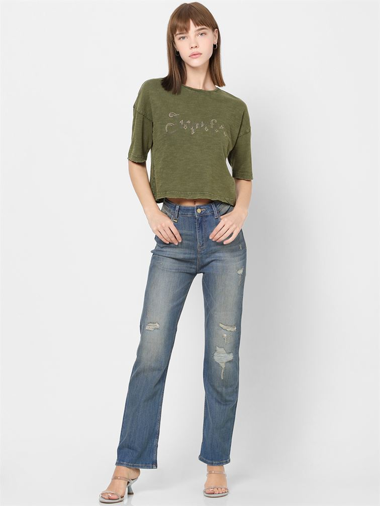 Only Women Casual Wear Olive Crop Length T-Shirt