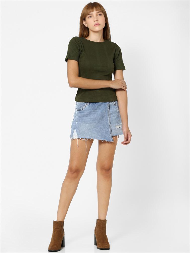 Only Women Casual Wear Green T-Shirt