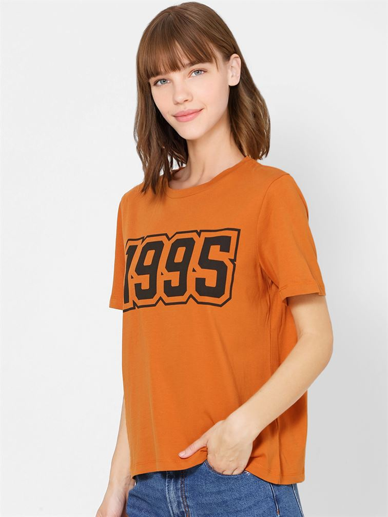 Only Women Casual Wear Orange T-Shirt