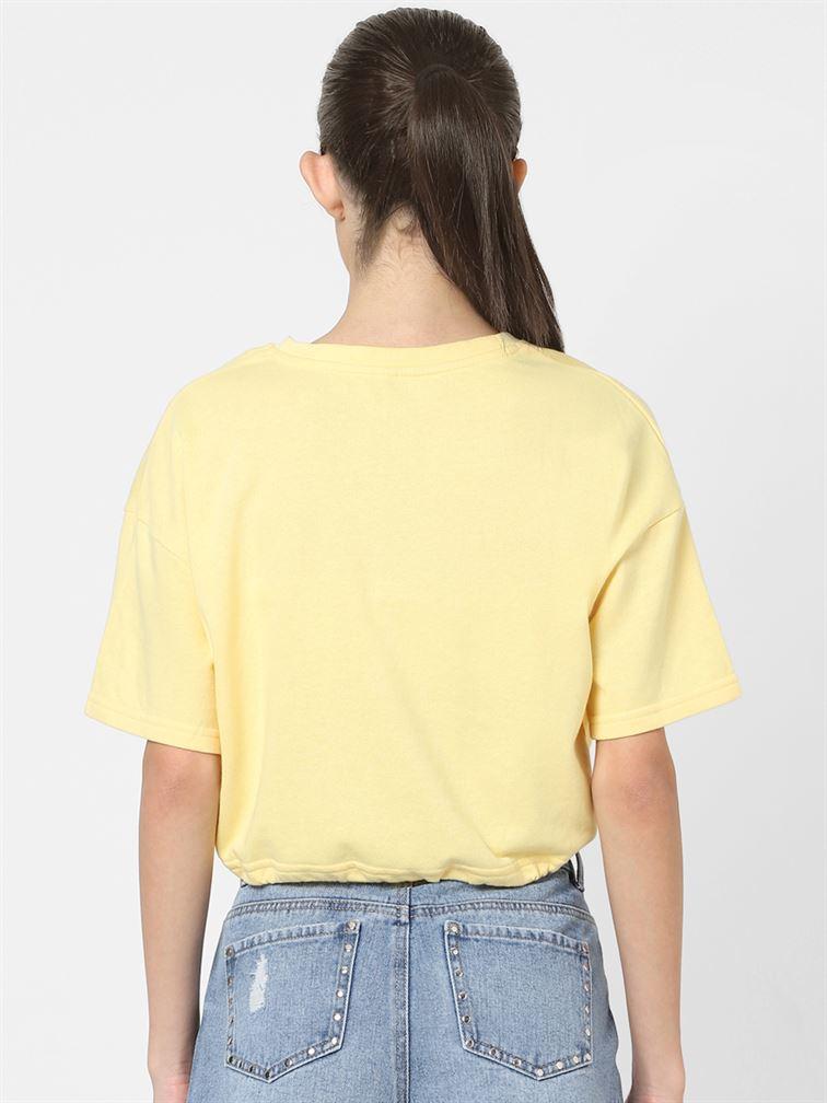 Only Women Casual Wear Yellow Crop Top