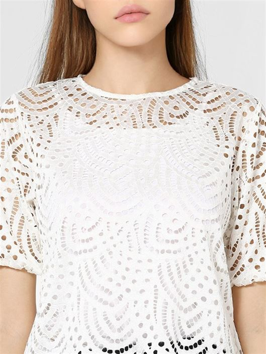 Only Women Casual Wear White Lace Top